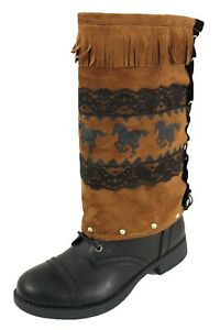 Women Boots Covers Toppers Pair Brown Faux Leather Slip On Western Rodeo Horses