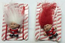 "2-Troll Necklaces Norfin  1-1/2"" White Red Hair 1992 SANTA TROLLS Vintage"