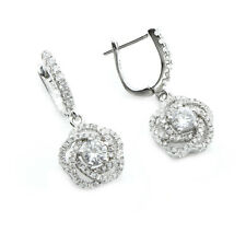 Sterling Silver Cubic Zirconia Micro Pave Set  Dropper Earrings