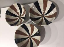 JONATHAN ADLER Happy Home Stripes Striped Brown Black Ceramic 3 Bowls