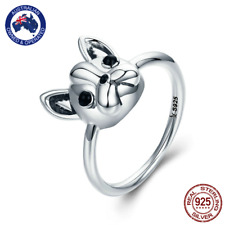 Cute French Bulldog 925 Stirling Silver Ring - Size 6 7 8