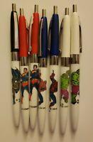 1978 DC/Marvel Comics Super Hero Ink Pens Superman,Hulk, Spider-man, Batman