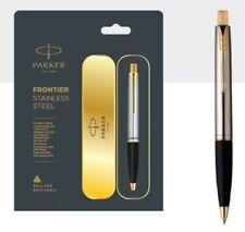 Parker Frontier  Steel GT Gold Trim Ball Point Pen Blue Ink Fine Tip New