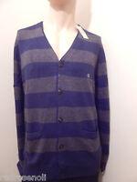 American Eagle Mens Cardigan XL-TALL AE Classic Striped Sweater BLUE Jacket NEW