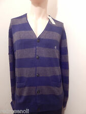 American Eagle Mens Cardigan 2XL AE Classic Striped Sweater BLUE Jacket NEW