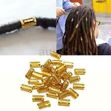 34pcs Long Mixed Gold Dreadlock Beads Dread Hair Braid Cuff Tube Clip 8mm 0.31""