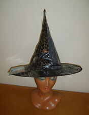 LADIES BLACK WITCH HAT WITH SILVER COBWEB DESIGN HALLOWEEN FANCY DRESS COSTUME
