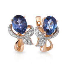 Earrings NEW Russian Solid Rose Gold 14K 585 fine jewelry topaz London 3.89g