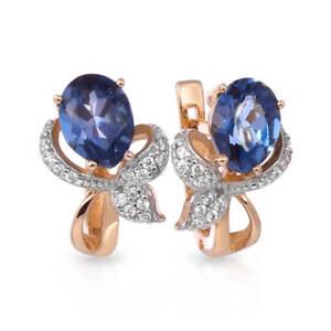 Earrings NEW Russian Solid Rose Gold 14K 585 fine jewelry topaz London 3.89g