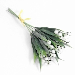 One Bundle Of Artificial White Lily Of The Valley 6 Stems Plastic Flowers Home