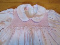Will'beth Smocked Long Sleeve Pink Dress Size 24 Months