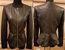 Calvin Klein Black Faux Leather Zip Front Peplum Hem Jacket, 10R - $129