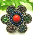 BEAUTIFUL CHINESE ANTIQUE ENAMEL & CORAL FLOWER BUTTON F111