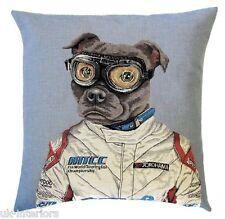 "18"" Racing Pug Driver Woven Belgian Tapestry Cushion 45cm Belgium Dog"
