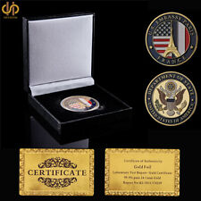 USA Liberty Freedom Embassy Paris Commemorative Gold Challenge Coin Luxury Box