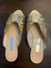 Zara Woman Gold Sequin Metallic Mules Slides Flats Size 38 Us 7 Slippers pre-own