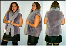 New Lilac Sheared Beaver Fur Vest Fox Fur Collar Size Medium 6 8 M Efurs4less