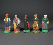 Vintage French Hand-Painted Terracotta Nativity Village Santons, Provence, 5 pcs
