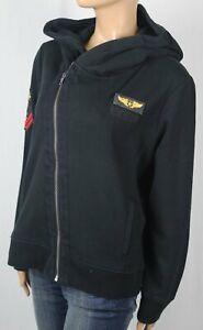 Polo Ralph Lauren Black Military Full Zip Hoodie Sweatshirt Asymmetrical Zip NWT