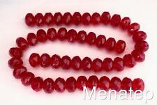 25 6 x 9 mm Czech Glass Gemstone Donut Beads: Siam/Ruby