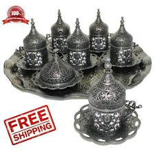 27 Ct Count Ottoman Turkish Greek Coffee Serving Cup Saucer Gift Set Old Silver