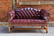 Vintage Chesterfield Sofa Oxblood loveseat living Room Settee wood feet bedroom