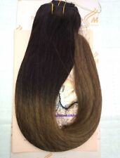 "Ombre 16""-18"" Black/Chestnut Brown Full Head Remy Human Hair Extensions Clip in"