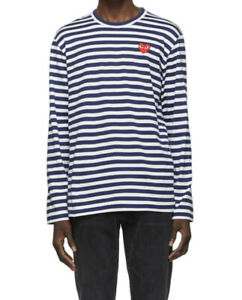 New With Tags comme des garcons play long sleeve striped shirt Navy And White
