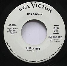 Country Promo 45 Don Bowman - Surely Not / Dear Sister On Rca Victor