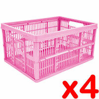 4 x 32L Plastic Folding Storage Container Basket Crate Box Stack Foldable PINK