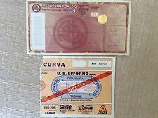 U.S. LIVORNO 2 BIGLIETTI STADIO CALCIO VS. BRESCIA SERIE B 2008/09 CURVA RIDOTTO