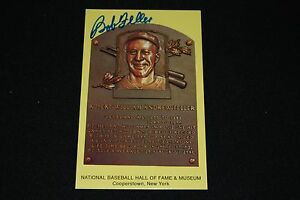 Bob Feller Cleveland Indians Signed Yellow HOF Plaque Postcard-NM
