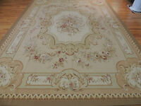 Lovely 9x12 French Aubusson Design Oriental Area Rug Beige Peach Green