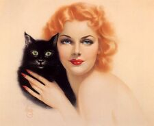 ART DECO BEAUTIFUL REDHEAD WITH HER BLACK CAT.  by ALBERTO VARGAS, A 4  print.