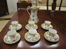 Antique Japanese Art Deco Set of 6 Cup & Saucer & Pot