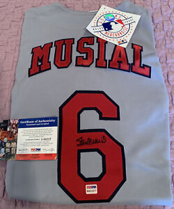 Stan Musial Autographed St Louis Cardinals Majestic Grey XL Jersey PSA DNA Cert