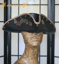 Pirate Tricorn Hat Steampunk Airship Captain Futurist Industrial Leather Hat