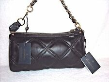 NWT Brooks Brothers Black Quilted Lambskin Leather Clutch Shoulder Bag -Gorgeous