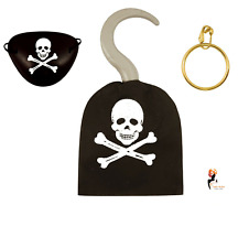 PIRATE HOOK EYE PATCH EARRING 3Pcs SET  Fancy Dress Party Bag Favor HB52774 UK