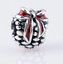 Pine Cone Lazo Rojo genuino 925 plata encanto grano encaja pulsera Europea