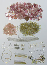 New Pink Bead Kit With Silver & Gold Tone Findings & Free Beading Instructions