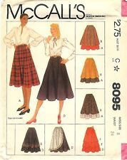 Vintage 1982 McCalls 8095 Sewing Pattern Misses Skirts Sz 8 Factory Folded Uncut