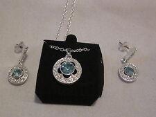 AVON Baby Blues Necklace & Earrings Set-Blue Faux Stone in a Silvertone Setting