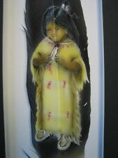 Native American Indian Girl - Russ Abbott Hand Painted Feather - COMMISSIONED