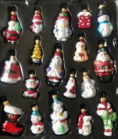 "Lot of 18 Small Glass Santa Angel Snowman Christmas Tree Ornaments 2-3.5"" New"