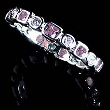 GEOMETRIC PINK / CLEAR CZ ETERNITY BAND _Size-7__925 STERLING SILVER
