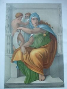 ANTIQUE PRINT DATED C1870S FRESCO THE SIBYL OF DELPHI MICHEL ANGELO ART PRINT