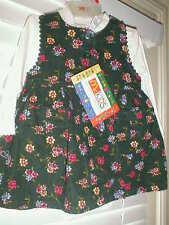 NWT FALL HUNTER GREEN Chorduroy Floral 2 pc dress set 12 months NEW!  GifT