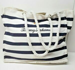 Tommy Bahama White Blue Stripes Beach Tote Boat Bag Canvas