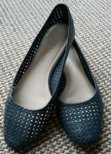 NEXT Navy Leather Forever Comfort Laser Cut Ballerinas UK 7 EUR 40 👌 condition